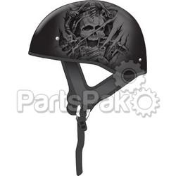 Gmax G1655075; Gm65 Naked Half Helmet Ghost/Rip Flat Black/Silver M