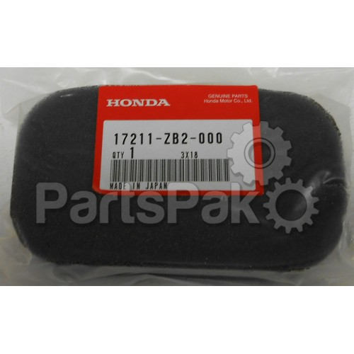 Honda 17211-ZB2-000 Element, Air Cleaner; 17211ZB2000