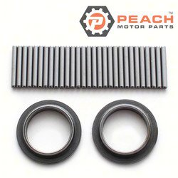 Peach Motor Parts PM-0395627 Bearing & Retainer Kit (Wrist Pin); Replaces Johnson Evinrude OMC®: 0395627, 395627, Sierra®: 18-1374, GLM®: 16220, Mallory®: 9-51103, Wiseco®: W5217