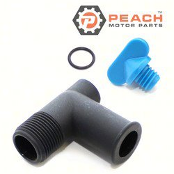 Peach Motor Parts PM-22-862210A01 Fitting, Exhaust Manifold Drain Elbow Kit; Replaces Mercury Marine® Mercuiser®: 22-806926A1, 22-806926A 1, 22-862210A01, Sierra®: 18-4224, Mallory®: 9-41200, G