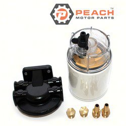 Peach Motor Parts PM-320R-RAC-01 Filter Assembly, Fuel Water Separator w/ Metal Base, Clear Bowl & Drain; Replaces Racor®: 320R-RAC-01, 320RRAC01, Honda®: 06177-ZW1-801AH, Suzuki®: 99105-20005-