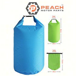Peach Motor Parts PM-DryBag-20L-Blue Waterproof Bag, 20 Liter Blue Polyester (15 x 20 Inches Flat) Dry Bag; Replaces Quest®: Dry Bag, Geckobrands®: Dry Bag, SealLine®: Dry Bag, Field & Stream®: