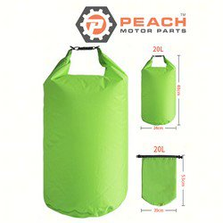 Peach Motor Parts PM-DryBag-20L-Green Waterproof Bag, 20 Liter Florescent Green Polyester (15 x 20 Inches Flat) Dry Bag; Replaces Quest®: Dry Bag, Geckobrands®: Dry Bag, SealLine®: Dry Bag, Fie