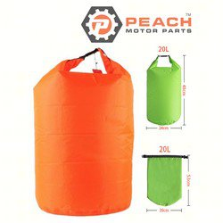 Peach Motor Parts PM-DryBag-20L-Orange Waterproof Bag, 20 Liter Orange Polyester (15 x 20 Inches Flat) Dry Bag; Replaces Quest®: Dry Bag, Geckobrands®: Dry Bag, SealLine®: Dry Bag, Field & Stre