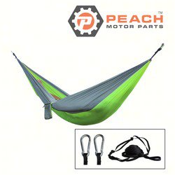 Peach Motor Parts PM-Hammock1 Hammock, Gray Lime Green 2-Person Parachute Double Camping; Replaces ENO®: DoubleNest Hammock, Grand Trunk®: Parachute Hammock; PM-Hammock1