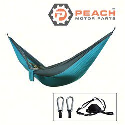 Peach Motor Parts PM-Hammock4 Hammock, Gray Aqua 2-Person Parachute Double Camping; Replaces ENO®: DoubleNest Hammock, Grand Trunk®: Parachute Hammock; PM-Hammock4