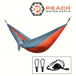 Peach Motor Parts PM-Hammock7 Hammock, Gray Orange 2-Person Parachute Double Camping; Replaces ENO®: DoubleNest Hammock, Grand Trunk®: Parachute Hammock; PM-Hammock7