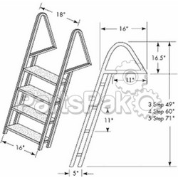 Tie Down Engineering 28273; Dock Ladder Galvanized 3 Step