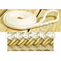 SeaChoice 41891; Fender Line Gold/White-Braid 1/4-Inch x 6-foot