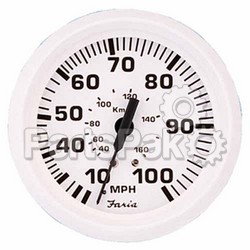 Faria 33113; Dress White Speedometer 80 Mp