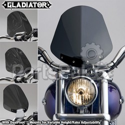 National Cycle N2701; Gladiator Windshield W / Chrome Mounts (Dark Tint)