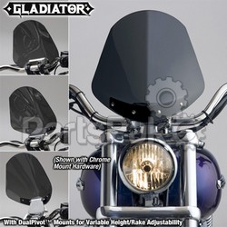 National Cycle N2703; Gladiator Windshield W / Black Mounts (Dark Tint)
