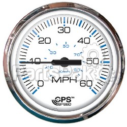 Faria 33839; Chesapeake Stainless Steel White Gps Speedometer 60 Mph