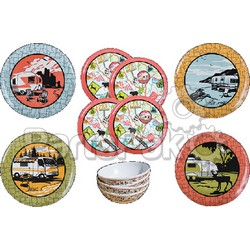 Camp Casual CC001; Dish Set-12Pc Vintage Roadtrip; LNS-925-CC001