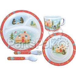 Camp Casual CC002; Dish Set-5Pc Owl&Bear Campsite