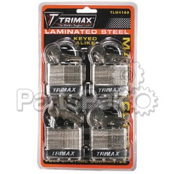 Trimax TLM4100; 4 Pack Keyed Alike Tlm100 Padlock
